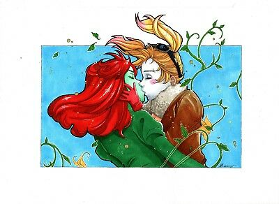 """Poison Ivy and Harley Quinn original comic art by Nathalie (08""""x11"""") -Cosmotrama"""