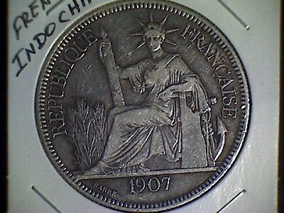 1907-A French Indo-China 1 Piastre World Silver Coin - Vietnam - VF+