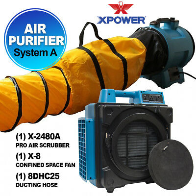 XPOWER X-2480A Air Scrubber Air Purifier System For Fire & Smoke Restoration