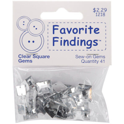 Favorite Findings Sew On Square Gems Clear 41/Pkg 55000SQG-1218