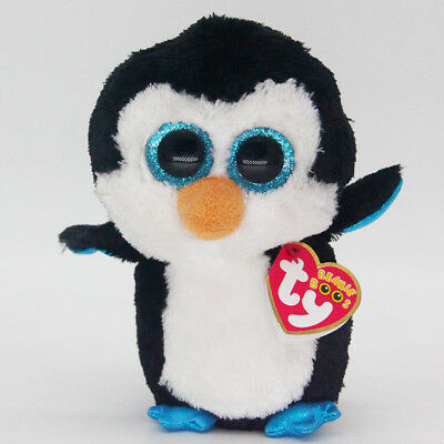 """6"""" Ty Beanie Boos Waddles Penguin Reg Stuffed Animal Plush Toys Child Gifts Y1"""