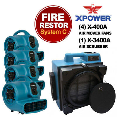 XPOWER X-3400A Pro Air Purifier Air Cleaning System For Fire & Smoke Restoration