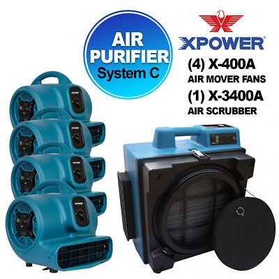 XPOWER X-3400A Pro Air Purifier Filtration System For Fire Smoke Restoration