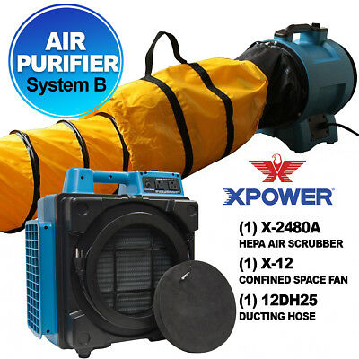 XPOWER X-2480A PRO Air Cleaning System w/ Hepa Filter For Smoke Fire Restoration