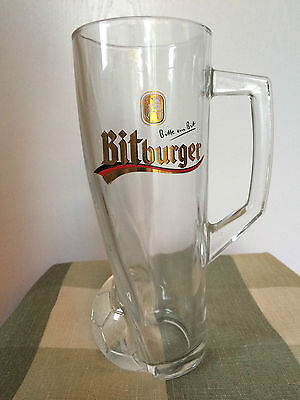 Bitburger German Tall Beer Glass Mug Soccer World Cup Football Bitte Ein Bit