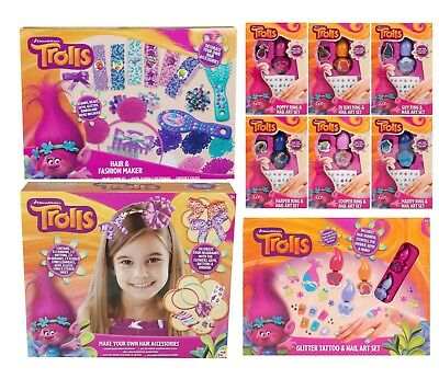 Girls Trolls Ring,Nail Art Set,Glitter Tattoo Kit Xmas Hair Fashion Sets 6+Y