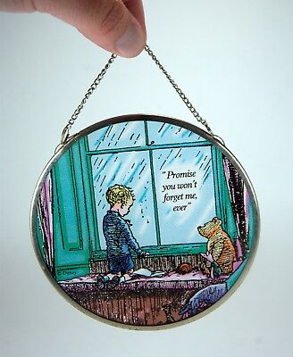"Disney Winnie the Pooh ""Promise you won't forget me, ever"" Art Glass Suncatcher"