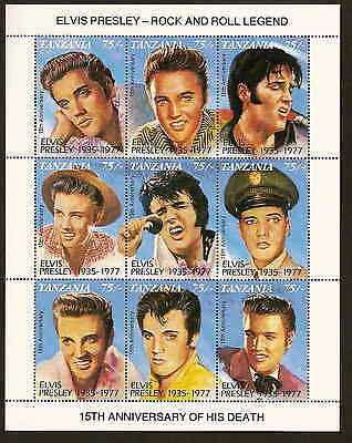 Tanzania 949 - sheetlet of 9 diff. Elvis Presley stamps - 15th death anniv. 1992