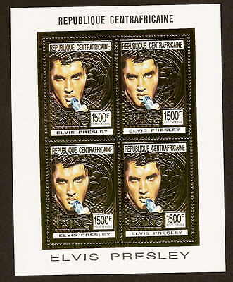 Central Africa 1001A Sheetlet of 4 - Elvis Presley -NH  Central African Republic