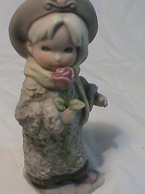 Enesco 1996 Figurine Girl With Rose by Kim Anderson Verkerke