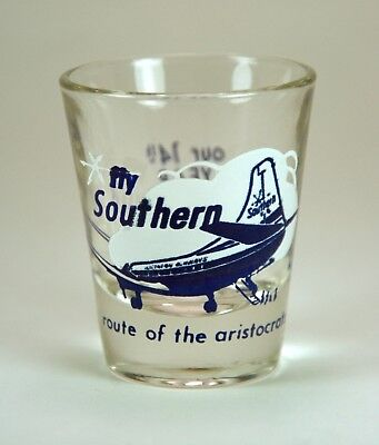 Vintage 1960's Southern Airway Shot Glass Airline Advertising, Martin 4-0-4