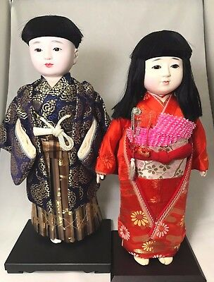 Antique Japanese Ichimatsu Girl & Boy Pair Doll  W/Boxes Exc+++ From JAPAN 40