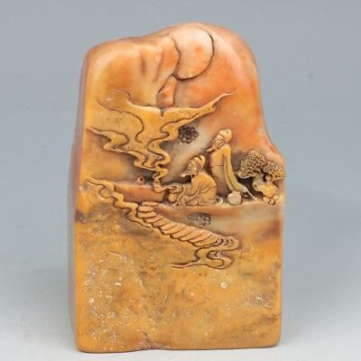 China Exquisite Hand-carved Old man Text carving Shoushan Stone seal