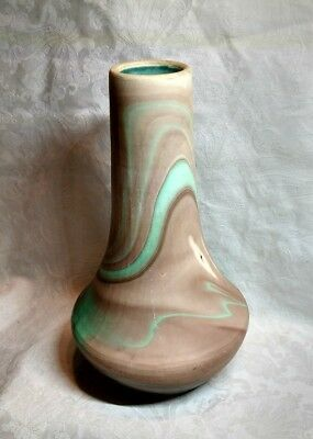 "SEVEN FALLS MADE IN COLORADO ""GREEN & BROWN"" SWIRL POTTERY VASE 1950s"