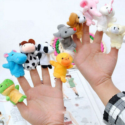 Toy 10 Pcs Family Finger Puppets Cloth Doll Baby Educational Hand Cartoon Animal