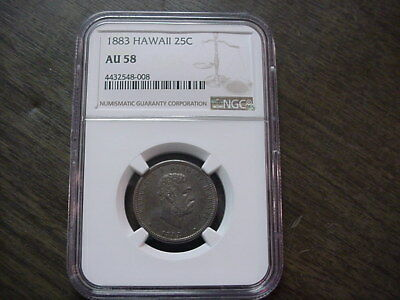 1883 Hawaii Silver 1/4 Quarter Dollar Au58 Au 58 Ngc Kalakaua Free Shipping Usa