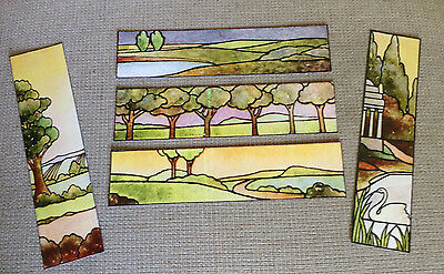 Set of 5 Laminated Bookmarks with Stained Glass Designs - Set C