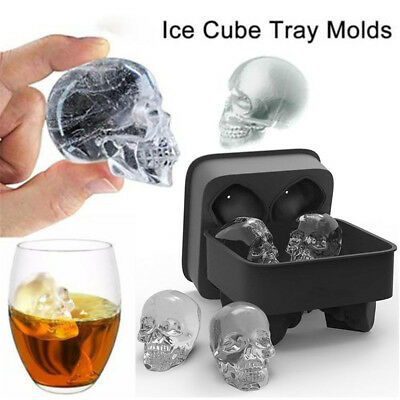 Whiskey Silicon Ice Cube Maker Mold Mould 3D Skull Brick Halloween Party Tray CE