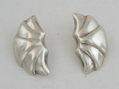 Heavy Large Sterling Silver Relief Unique Shape Half Moon Shell Taxco Earrings