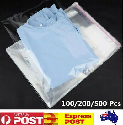 45X35cm Self Adhesive Clear Cellophane Resealable Plastic Packaging Bags 100-500