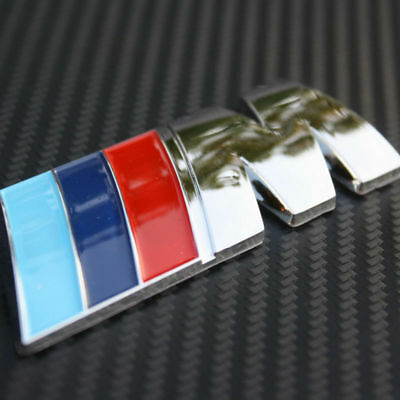 3D M Logo Plating Metal Power BMW Badge Fender Emblem Self Adhesive Car Sticker
