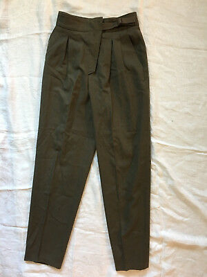 Christian Dior Vintage 70s 80s Pants High Waist Wool Green Pleated Tapered Small
