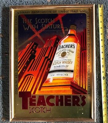 TEACHERS SCOTCH BAR MIRROR Sign Wall Miller Liquor Vintage Whiskey Shot