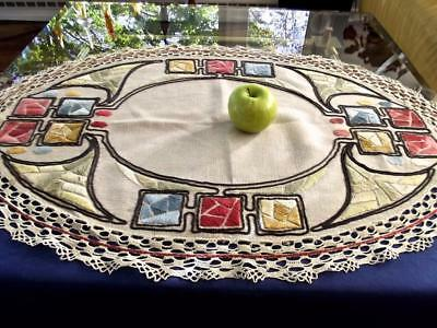 Antique Arts & Crafts Abstract Hand Embroidery 25x37 Oval Craftsman Centerpiece