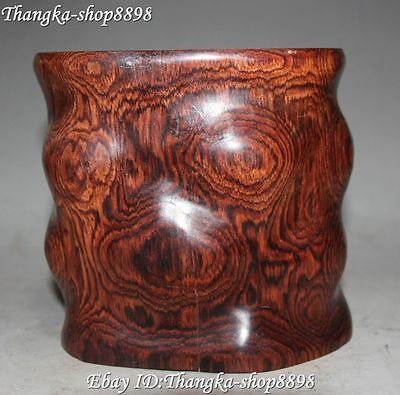 Chinese Wood Carving Irregular Shapepen Holder Pencil Vase Brush Pot Container