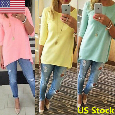 US Fashion Women Casual Scoop Neck Long Tunic Top Short Sleeve Loose Fit T-Shirt