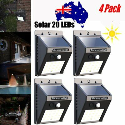 AU 20LED Solar Power Sensor Wall Light Outdoor Security Motion Weatherproof Lamp