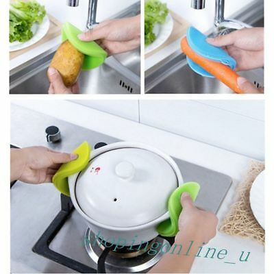 Magic Green Silicone Bowl Washing Brush Adiabatic Coaster Home Kitchen Cleaning