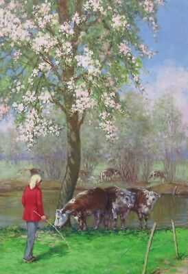 VintageFrench Painting, Landscape, Normandy, Woman, Cows, Flowering Apple Trees