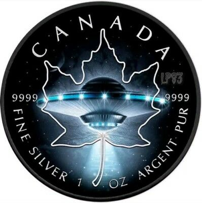 2017 1 Oz Silver $5 UFO ,GLOW IN THE DARK Maple Coin,With Ruthenium..LAST PIECE.