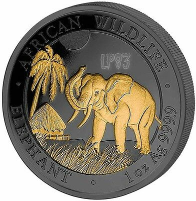 2017 1 Oz Silver GOLDEN ENIGMA ELEPHANT Coin WITH 24k Gold.