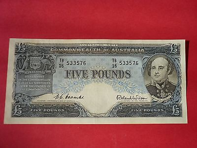 AUSTRALIAN FIVE POUND NOTE Coombs / Wilson