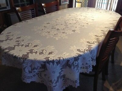 Vintage Cream Coloured Large Lace Tablecloth