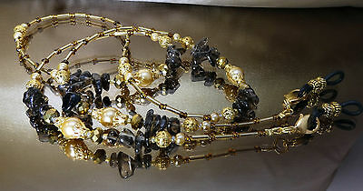 Spectacle Glasses Eyewear Chain Holder Gold Smokey Topaz Gemstone Pearl (S1802)