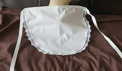 A GREAT WHITE WAIST APRON  50'S STYLE  MAID PINNY  trimmed with lace