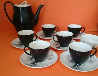 Rare JOHNSON BROS Black and White SAILING BOATS Tea Set - 1950s Mid Century
