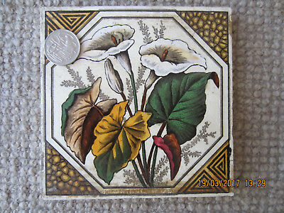 """1 x Antique Victorian printed tile – England – 6 x 6"""" decorated with lillies"""