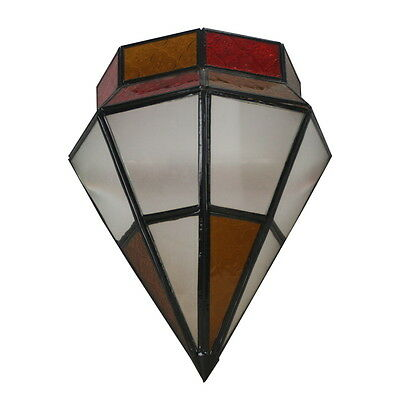 Moroccan Red & White Glass Wall Light - Handmade Wall Lamp New