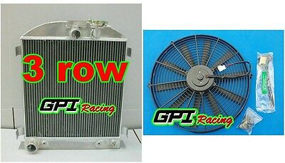 new 1932 32 FORD CHOPPED FORD ENGINE AT 64mm 3 row aluminum radiator &fan