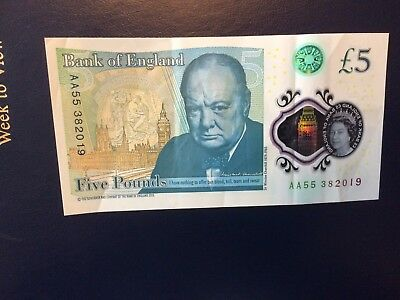 Rare £5 pound polymer note, low AA serial number