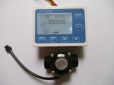 "NEW Hall effect G3/4"" Flow Water Sensor Meter+Digital LCD Display control"