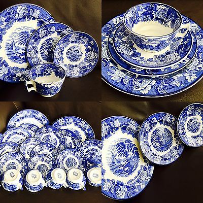 "Original Antique (1917) 20 Piece Woods Ware ""English Scenery"" Ironstone Tea Set"