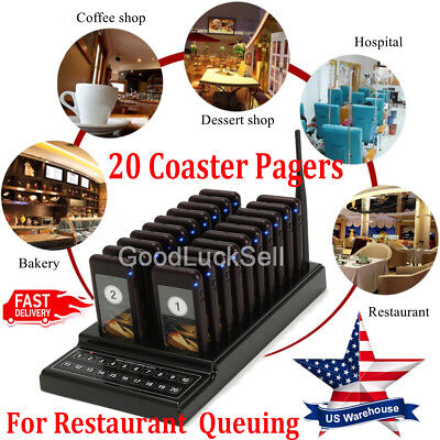 20 Coaster Pagers Restaurant Guest Call Wireless Paging Queuing Calling System A