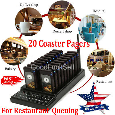 20 Coaster Pagers Wireless Guest Paging Queuing Restaurant Calling System USA