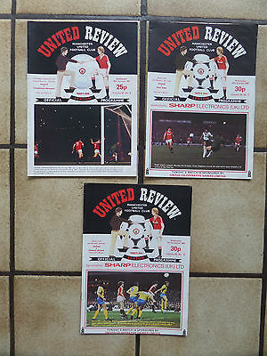 3 x Manchester United Home Football Programmes - League Cup - 1980s - Lot 19