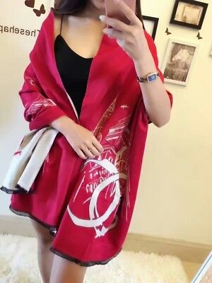 #123$ CHANEL Scarf Cashmere 100% Authentic/Red &&